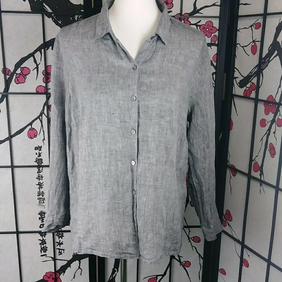 b77cb4ad J. Jill Tops   J Jill Linen Button Down Shirt Grey Lightweight ...